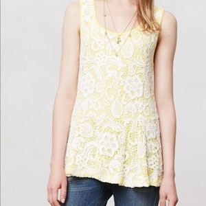 Anthropologie Meadow Rue Emilia Yellow Lace Peplum